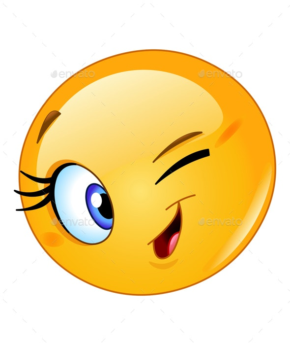 Female Emoticon Winking - People Characters