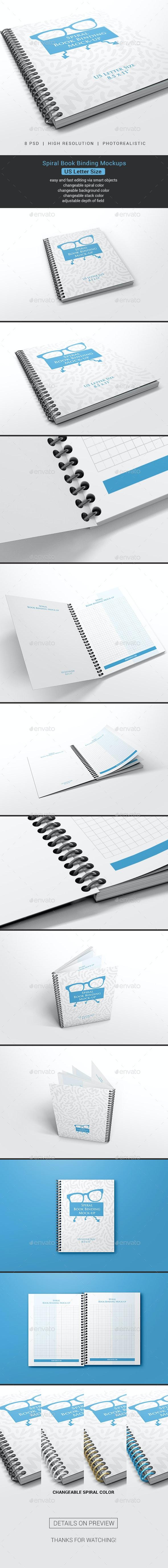 Spiral Book Binding US Letter Size Mockups - Books Print