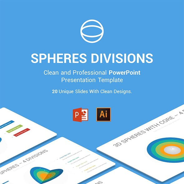 Spheres Divisions PowerPoint, Illustrator Template