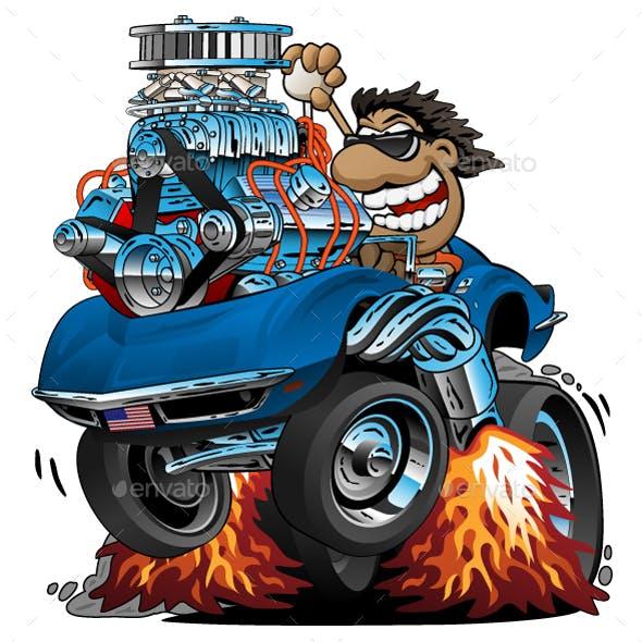 Classic Sports Car Cartoon