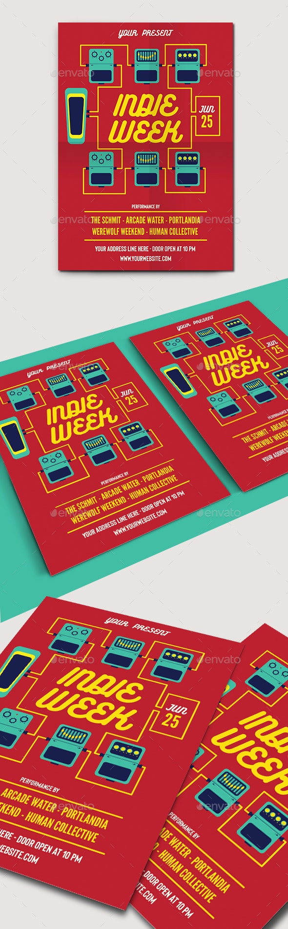 Indie Week Flyer Template - Concerts Events