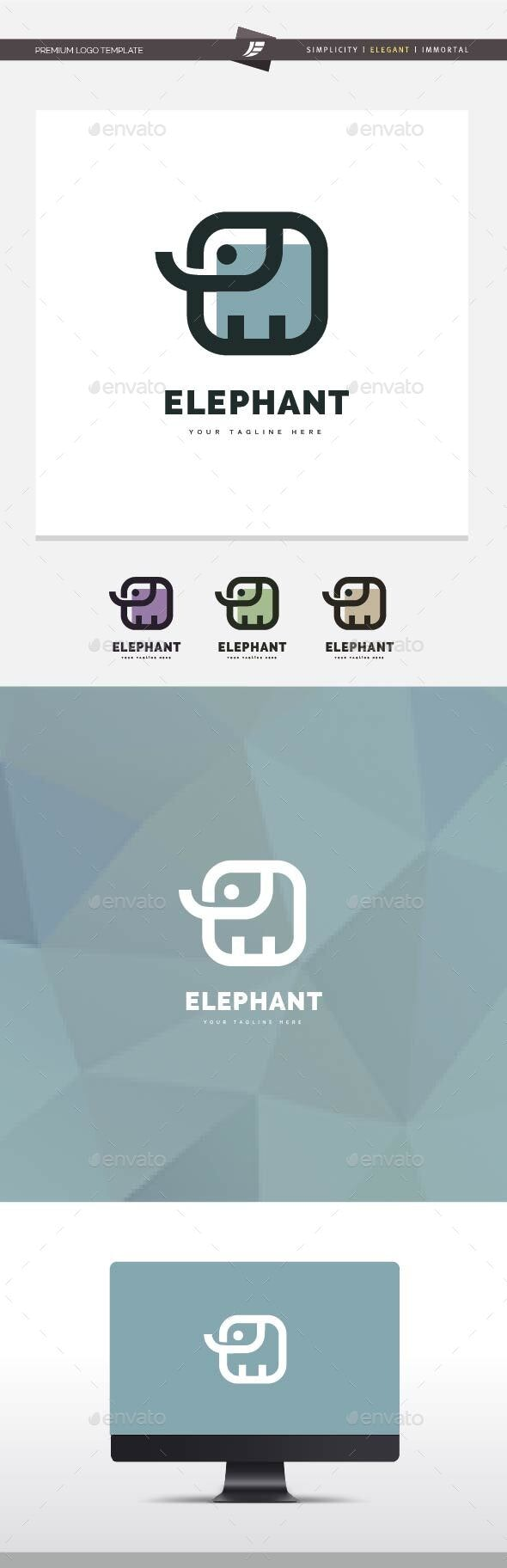 Elephant Square Logo - Animals Logo Templates