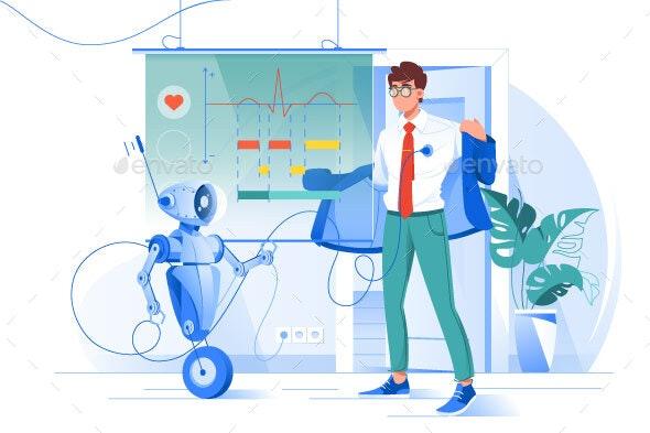 Flat Young Man on Robot Diagnostics with Heart - Health/Medicine Conceptual