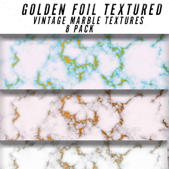 Golden Foil Marble Textures
