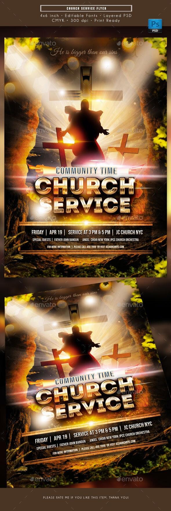 Church Service Worship Flyer - Church Flyers
