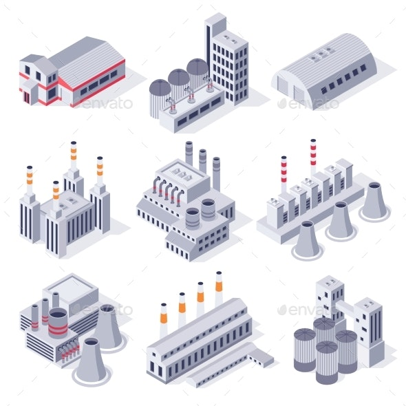 Isometric Factory Buildings Industrial Power - Buildings Objects