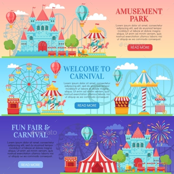 Amusement Park Banners - Miscellaneous Vectors