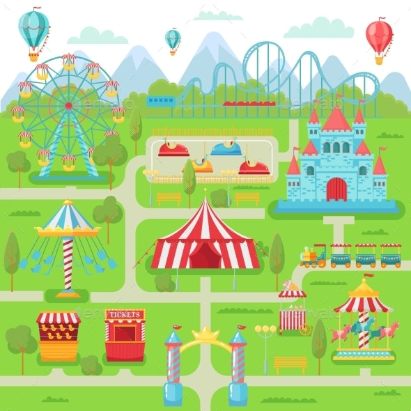 Amusement Park Map - Miscellaneous Vectors