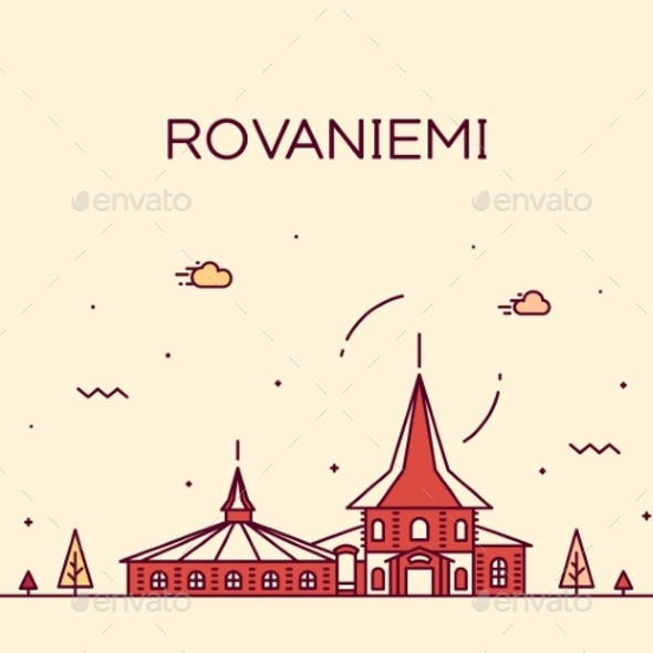 Rovaniemi Skyline Finland Vector City Linear Style