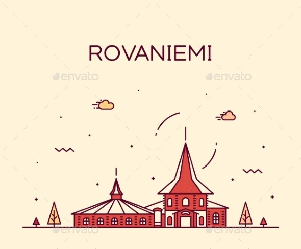 Rovaniemi Skyline Finland Vector City Linear Style - Buildings Objects