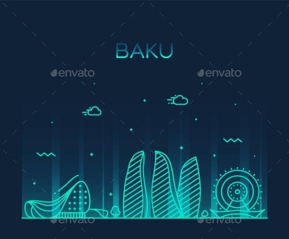 Baku Skyline Azerbaijan Vector City Linear Style - Buildings Objects