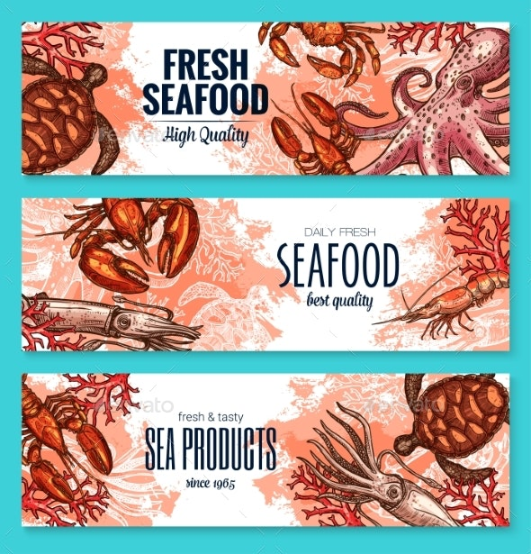 Seafood Product Sketch Banner Set for Food Design - Animals Characters
