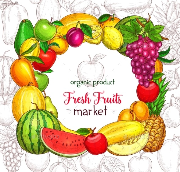 Fruit Frame Border for Organic Food Market Poster - Food Objects