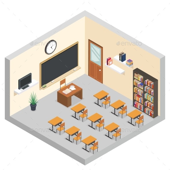 Isometric Classroom Education Room Teaching - Miscellaneous Vectors