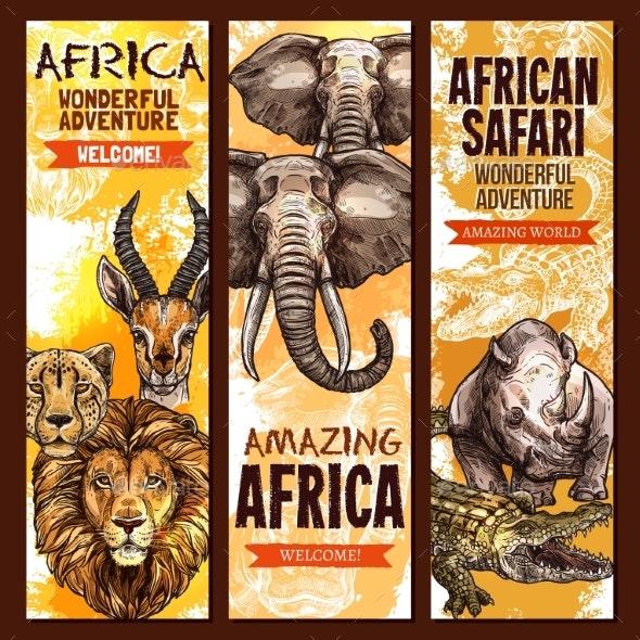 African Safari Outdoor Adventure Sketch Banner Set - Animals Characters