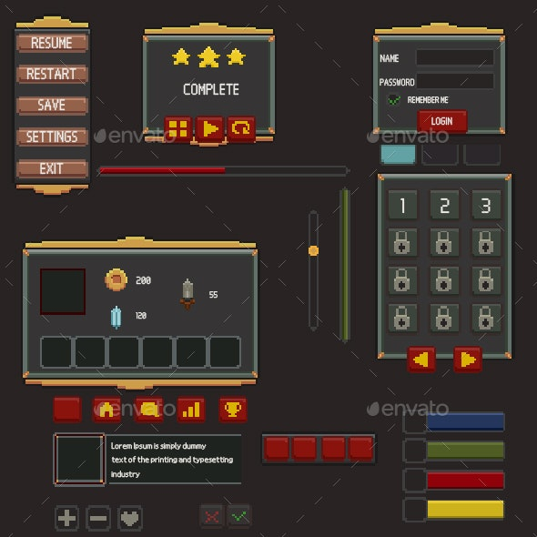 Game UI Pixel Art - User Interfaces Game Assets