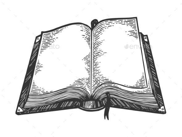 Open Book Sketch Engraving Vector Illustration