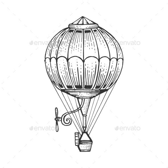 Vintage Air Balloon Sketch Engraving Style Vector