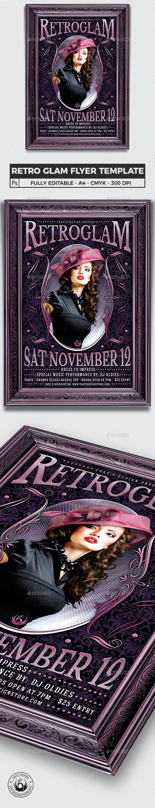 Retro Glam Flyer Template V3 - Clubs & Parties Events