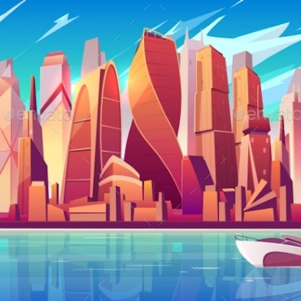 Moscow Downtown Cityscape Vector Background