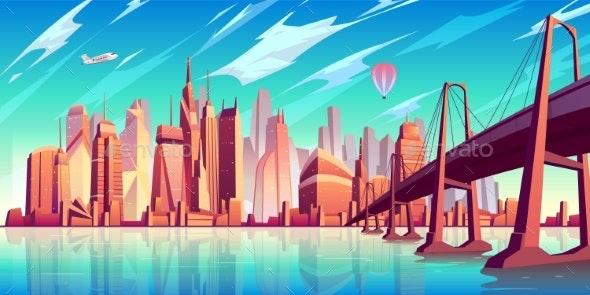 Metropolis Skyline Cartoon Vector Background - Buildings Objects