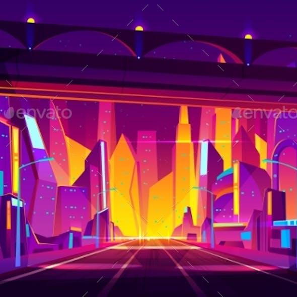 Future City Highway Cartoon Vector Illustration