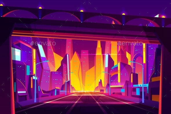 Future City Highway Cartoon Vector Illustration - Buildings Objects