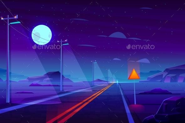 Empty Highway in Night Dessert Cartoon Vector - Travel Conceptual