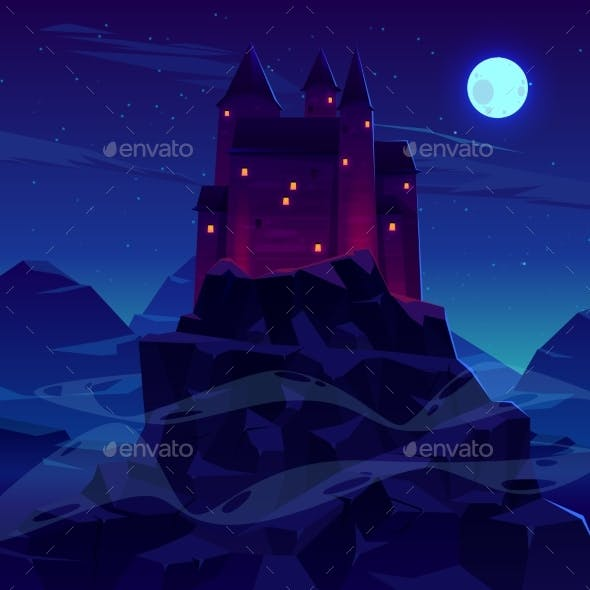 Ancient Castle or Fortress in Mountains Vector