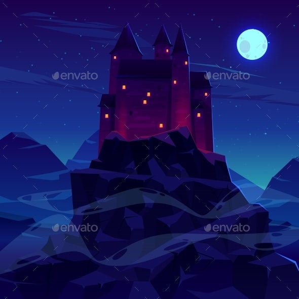 Ancient Castle or Fortress in Mountains Vector - Buildings Objects