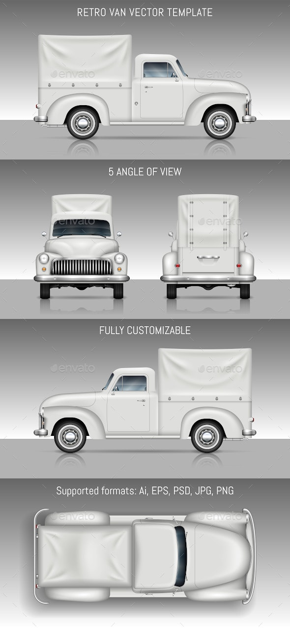 Retro Delivery Truck - Man-made Objects Objects
