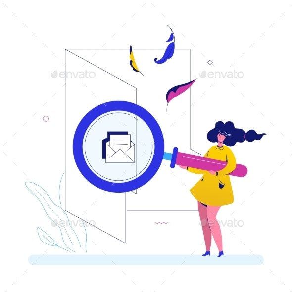 Search in a Folder - Flat Design Style Colorful - Concepts Business