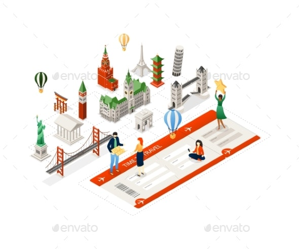 Time To Travel - Modern Colorful Isometric - Travel Conceptual