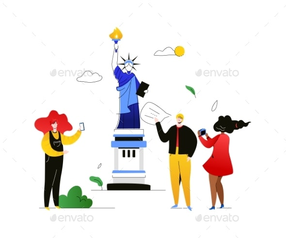 Travel To the USA - Colorful Flat Design Style - Travel Conceptual