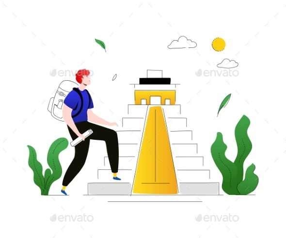 Visit Mexico - Colorful Flat Design Style - Travel Conceptual