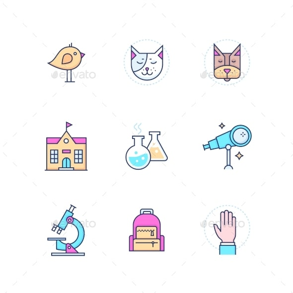 School Concepts - Modern Line Design Style Icons - Miscellaneous Conceptual