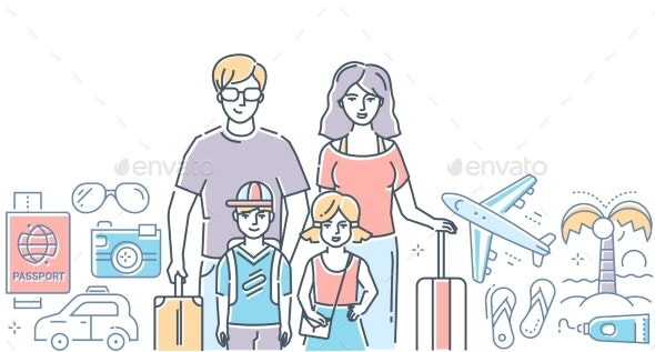 Family Vacation - Modern Colorful Line Design - Travel Conceptual