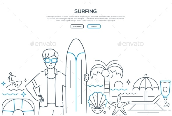Surfing - Modern Line Design Style Web Banner - Sports/Activity Conceptual