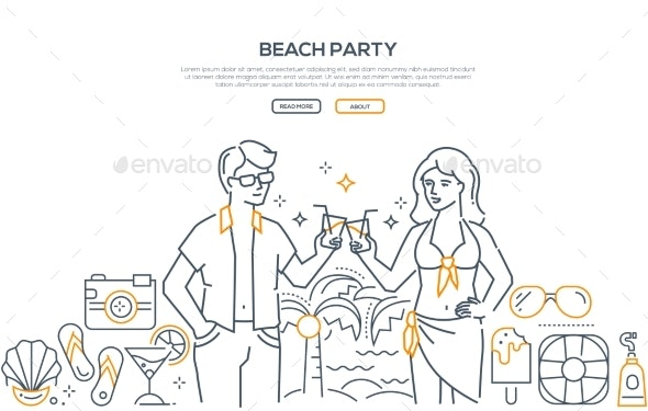Beach Party - Modern Line Design Style Banner - Miscellaneous Vectors