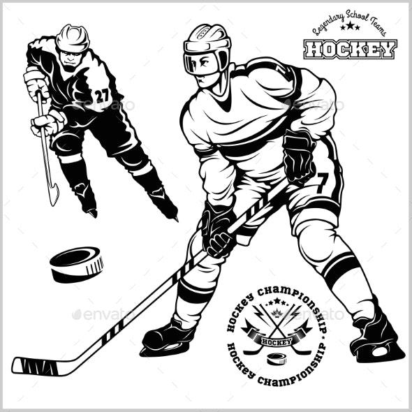 Ice Hockey Players  Vector Set - Sports/Activity Conceptual