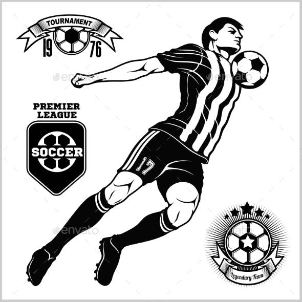 Soccer Football Player Running and Kicking a Ball - Sports/Activity Conceptual