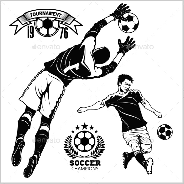 Soccer Football Players Running and Kicking a Ball - Sports/Activity Conceptual