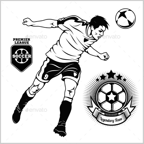 Soccer Football Player Running and Kicking a Ball - Sports/Activity Conceptual