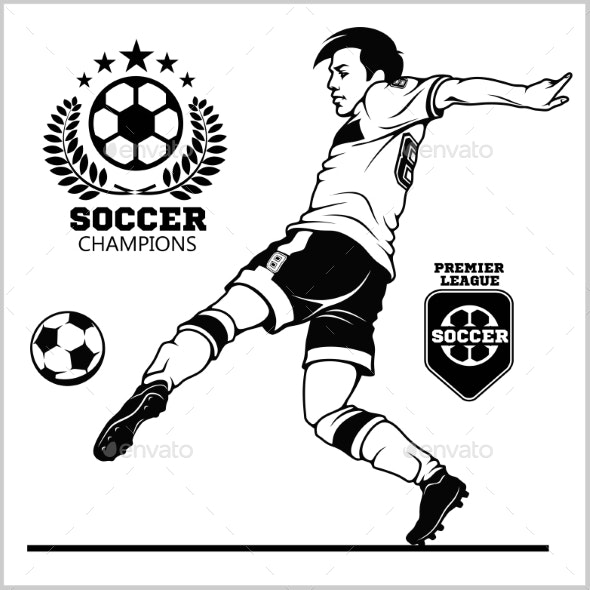Soccer Player Kicking Ball and Football Emblems - Miscellaneous Vectors