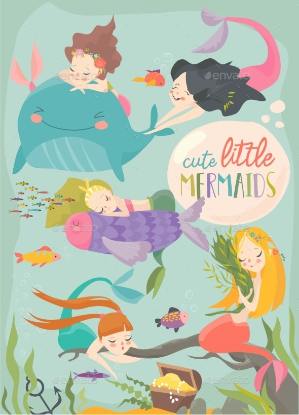 Cartoon Card with Little Mermaids - Animals Characters
