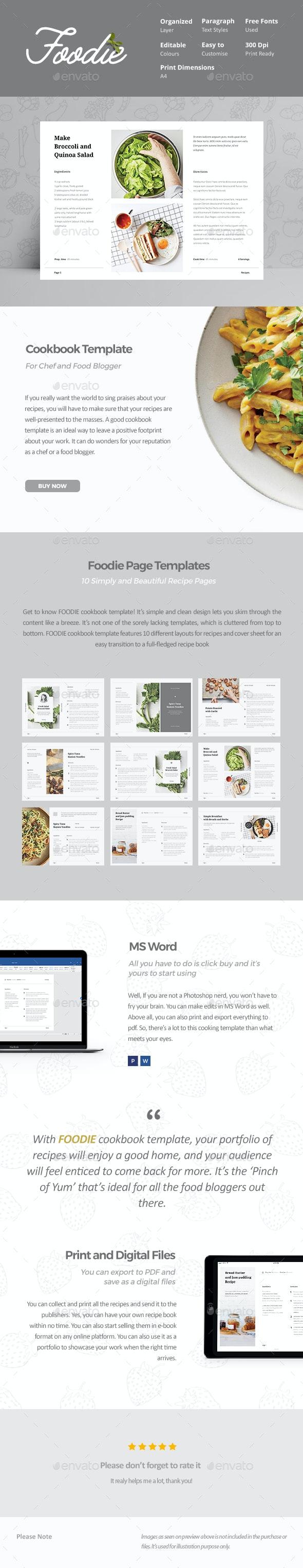 Foodie - Cookbook Template - Food Menus Print Templates