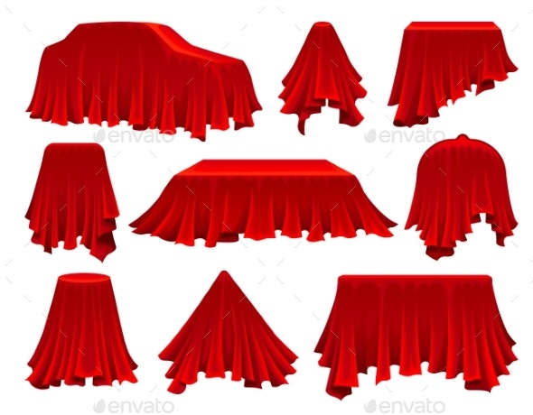 Collection of Objects Hidden Under Red Cloth - Miscellaneous Vectors