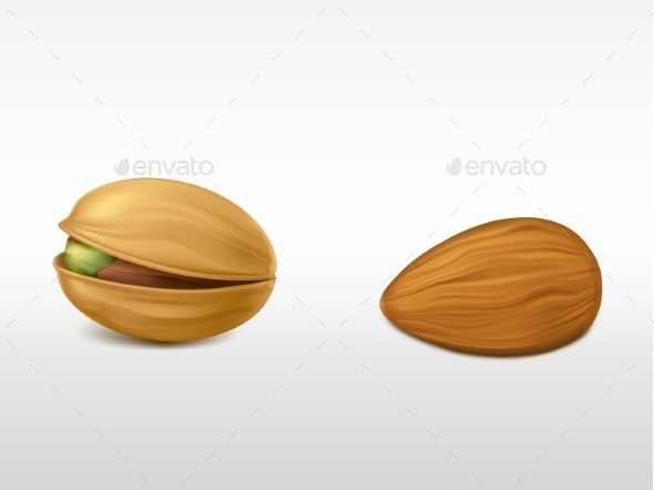Peeled Almond and Cracked Pistachio - Food Objects