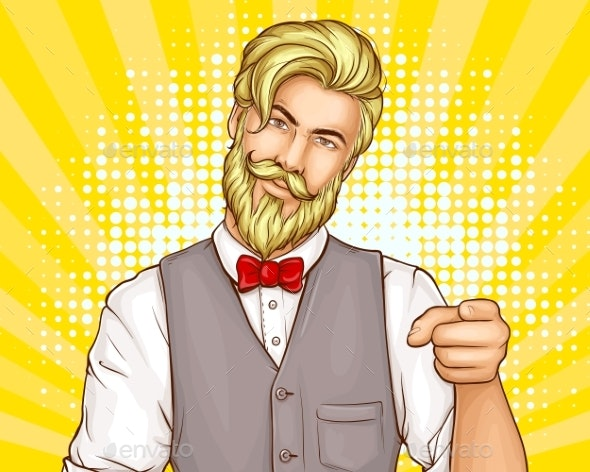 Hipster Man Portrait Cartoon Vector - People Characters