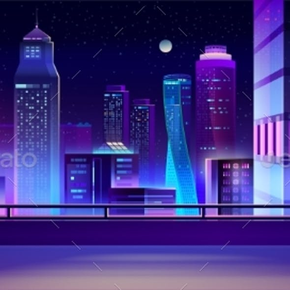City Night Skyline Cartoon Vector Background